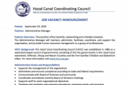 Document showing the administrative manager job announcement