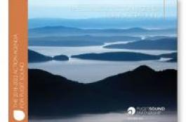2018-2022 Action Agenda for Puget Sound cover image: aerial photo of San Juan islands in the Puget Sound, Washington State